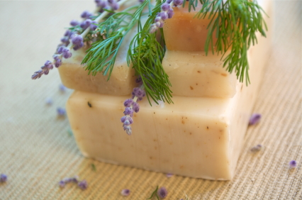 Homemade soaps with lavender
