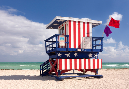 Lifeguard house in miami beach-florida