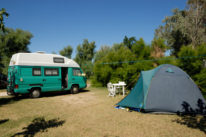 This RV and tent are green on the outside but what about the inside