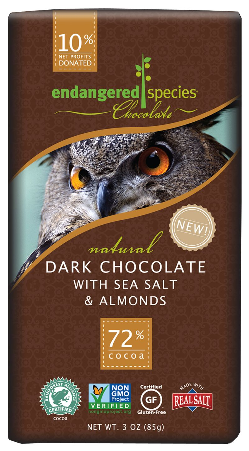 Endangered Species Chocolate, dark chocolate with sea salt and almonds