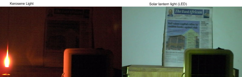 Kerosene light vs. solar lantern light