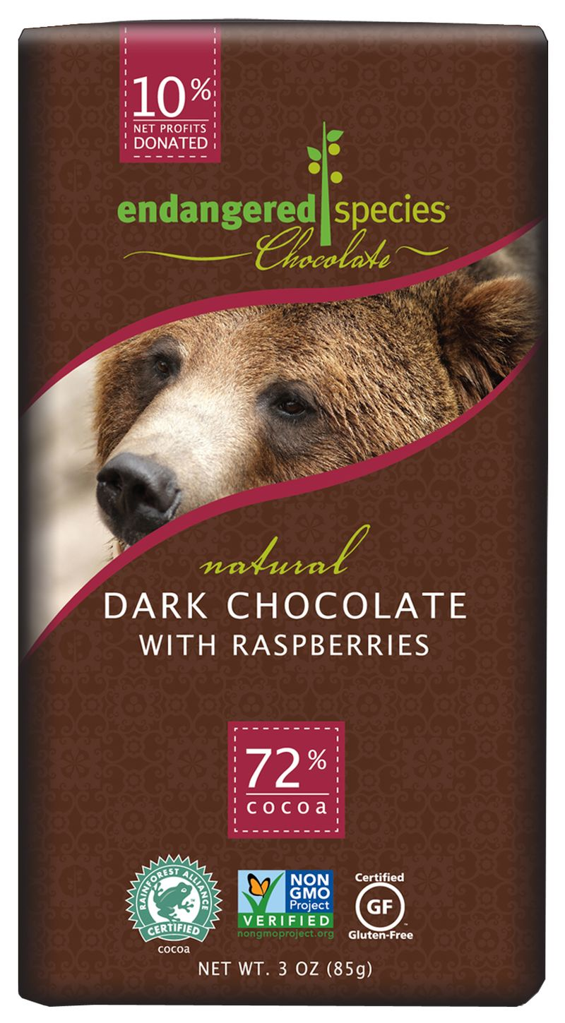 Endangered Species Chocolate, dark chocolate with raspberries