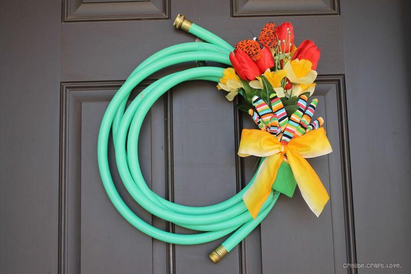 DIY spring projects, garden hose spring wreath